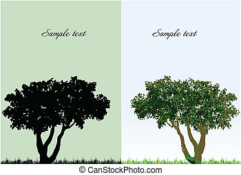 grass., vektor, träd, två, bakgrund