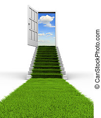 Grass way - Conceptual grass leading to the sky through a...