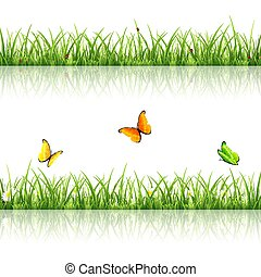 Grass with butterflies and ladybugs