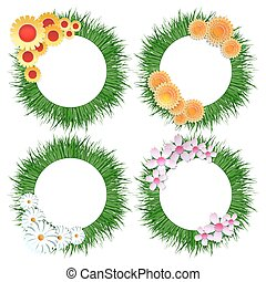 Grass wreath with flower bouquet set