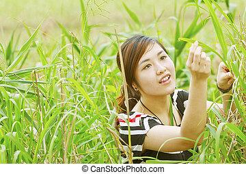 grassen, vrouw, aziaat