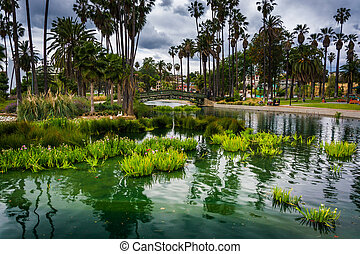 Grasses and a bridge over Echo Park Lake, in Los Angeles,...