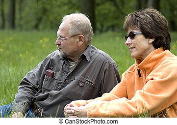 grassfield, par, verde, sênior