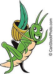 Grasshopper Carrying Basket Grass Cartoon