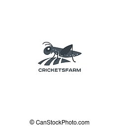 Grasshopper, cricket insect logo