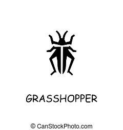 Grasshopper flat vector icon