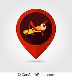Grasshopper locust flat vector pin map icon. Map pointer....