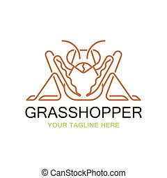 Grasshopper logo design inspiration. cricket insect icon in trendy minimal Geometric line linear style