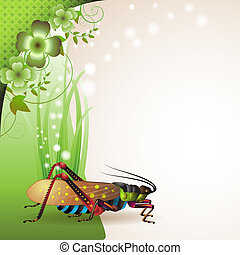 Background with grasshopper on grass