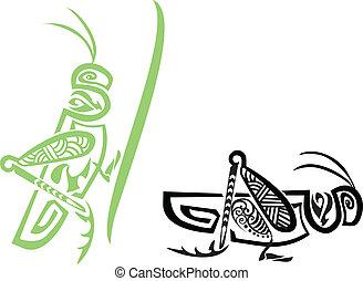 Stylized tribal grasshopper, vector illustration