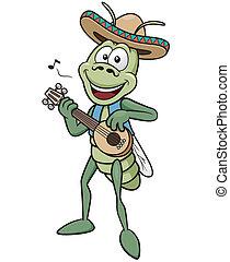 Vector illustration of green grasshopper