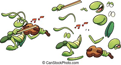 Singing cartoon grasshopper playing a violin clip art. Vector illustration with simple gradients. Some elements on separate layers.