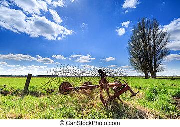 Grassland landscape with beautiful clouds