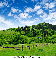 grassland with fence and rural house on the hill