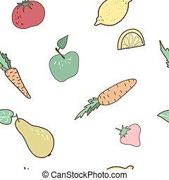 grasso, mangiare, concept., sano, verdura, frutte, seamless, modello, disegno, freehand
