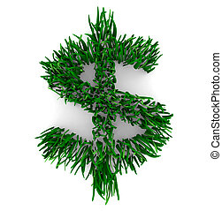 A Dollar Sign composed of grass blades, symbolizing the saving of money by being Earth friendly