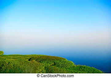 Grassy dunes next to the sea under a nice blue sky