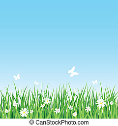 Grassy field - Seamless vector illustration of grassy field
