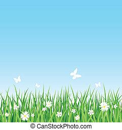 Seamless vector illustration of grassy field