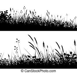 Grassy foregrounds - Two editable vector silhouettes of...