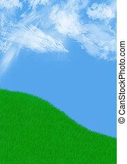 grassy hill - green grass against a beautiful blue cloudy...