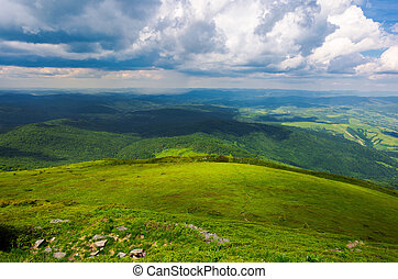 grassy hillside view from above. beautiful summer landscape...