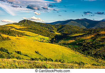 grassy hillsides in high mountains in afternoon. beautiful...