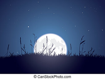 The bright moon rises behind a grassy plain. CMYK color. Layer separated.
