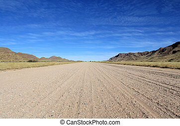 Grassy Savannah with mountains in background, Namib desert ...