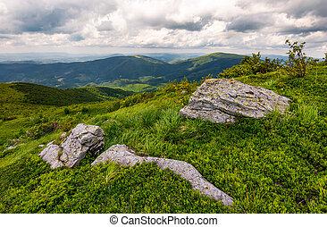 grassy slopes of Carpathian mountains. huge boulder on the...
