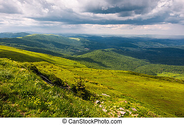 grassy slopes of Carpathians before the storm. beautiful...