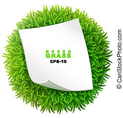 Grassy sphere with a clean sheet of paper