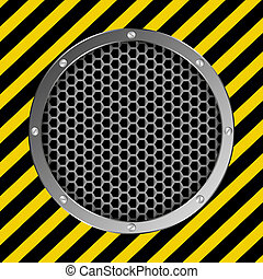 grate background with yellow and black tape