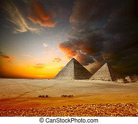 Giza - Grate pyramids in Giza valley. Egypt