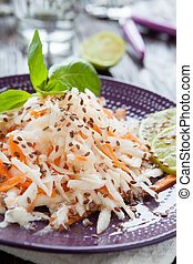grated black radish and carrots drenched with honey