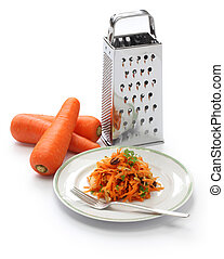 grated carrot salad and grater - grated carrot...