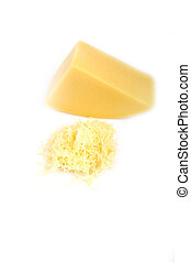 grated cheese on a white background