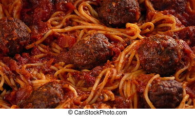 Grated Cheese Sprinkled On Spaghetti And Meatballs - Grated...