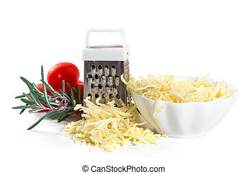 Grated cheese with grater and tomatoes on white background