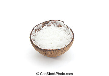 Grated Coconut isolated on white background