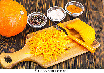 Grated pumpkin for cooking