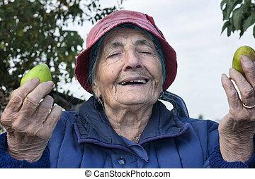 grateful grandmother - smiling grateful senior woman with...