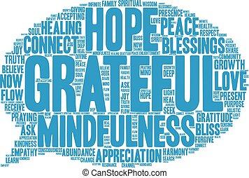 Grateful Word Cloud - Grateful word cloud on a white...