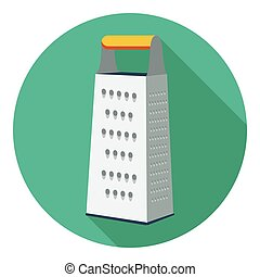 Grater icon in flat style isolated on white background. Kitchen symbol stock vector illustration.