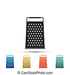 Grater icon isolated on white background. Kitchen symbol. Set elements in colored icons. Flat design. Vector Illustration