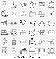 Grater icons set, outline style