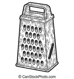 Grater, kitchen tool. Sketch scratch board imitation. Black and white. Engraving vector illustration.
