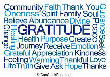 gratidão, palavra, nuvem