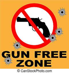 gratis, gevär, zon