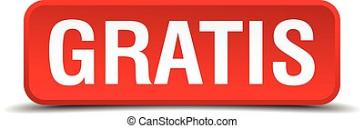 Gratis red 3d square button on white background